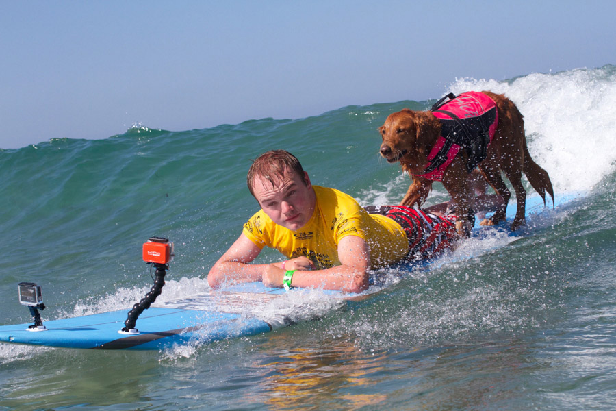 Representative of Team USA, Patrick Ivison, sharing a wave with surf therapy dog, Ricochet. Photo: ISA/Petty