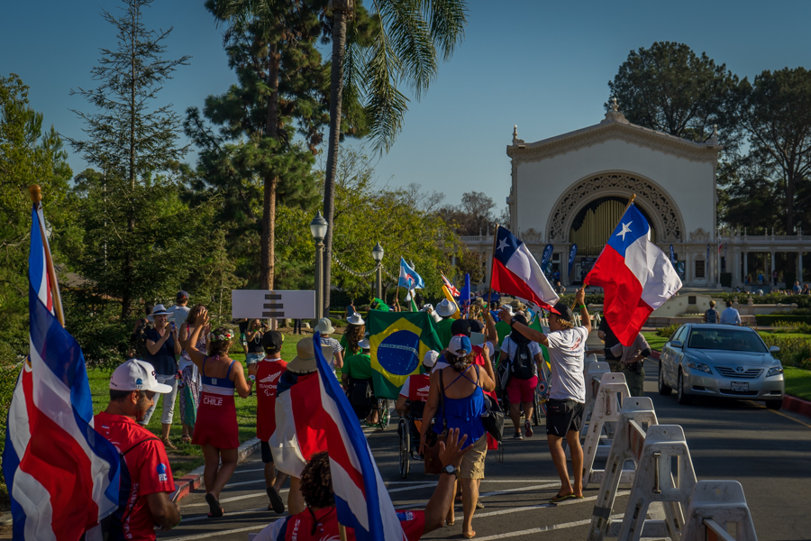 The National Teams parade towards Spreckels Organ Pavilion for the Opening Ceremony. Photo: ISA/Evans