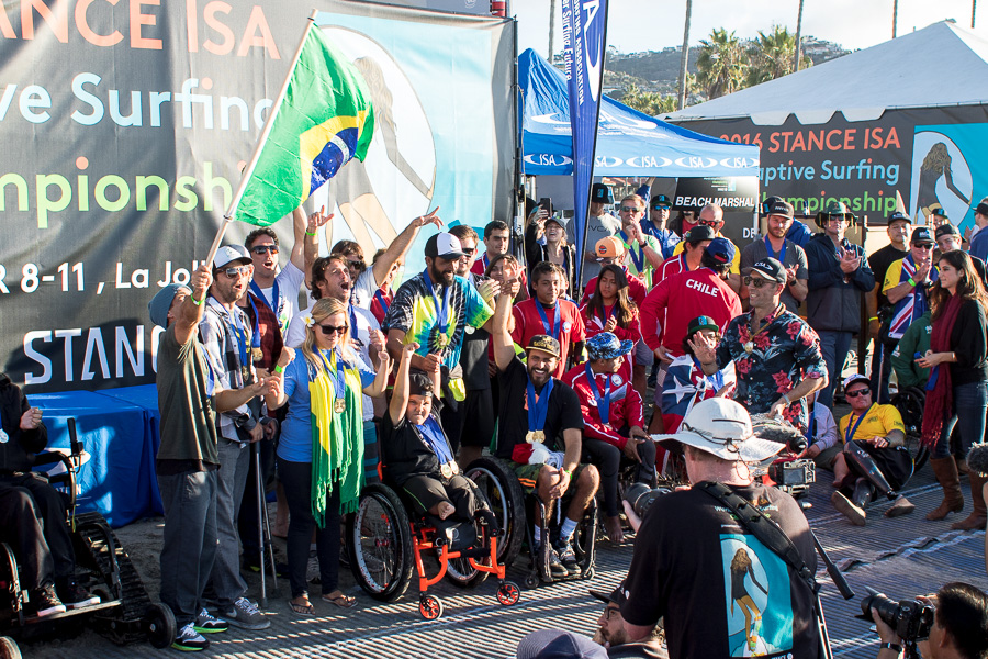 Team Brazil celebrates winning the World Team Champion Trophy. Photo: ISA / Chris Grant