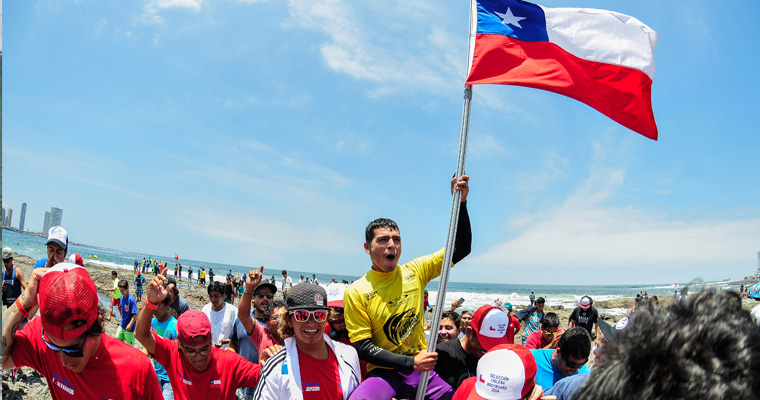 Chile made history by winning it's first ever ISA Gold Medal thanks to the 17 year old, Yoshua Toledo, who won Gold in Junior Boys U-18. Photo: ISA/Rommel Gonzales