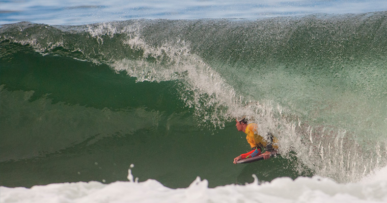 South Africa's Storm Prestwich took advantage of the great waves on offer, found a deep barrel, and is one step closer to the Grand Final. Photo: ISA/Rommel Gonzales