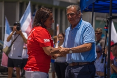 Iquique Mayor Jorge Soria and President of Chile Surf Federation Paula. PHOTO: ISA / Sean Evans