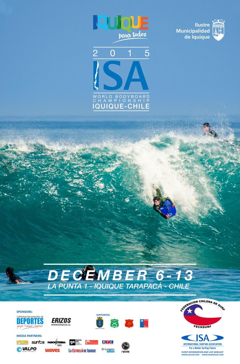 El póster oficial del Iquique Para Todos ISA World Bodyboard Championship 2015.