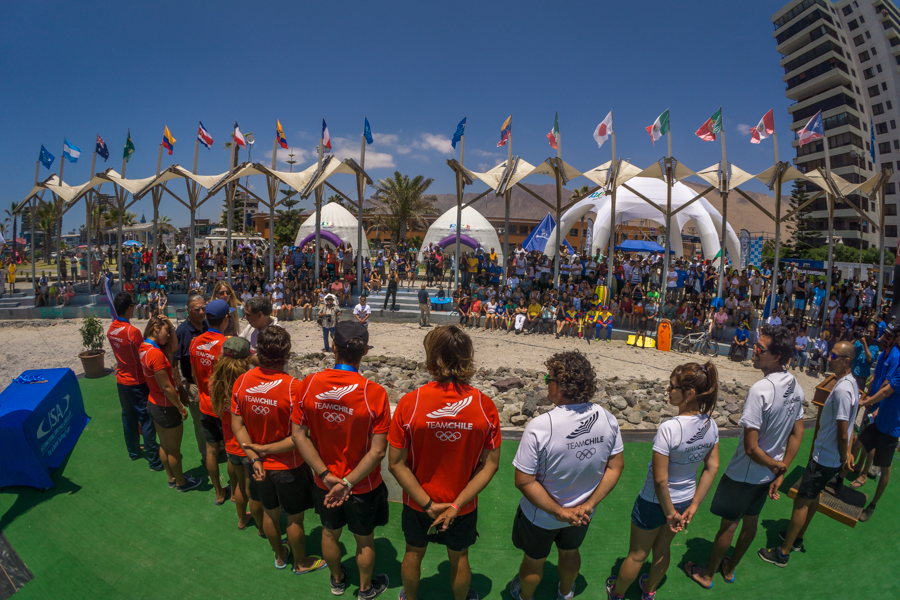 The local Iquique crowd shows their support for Team Chile's strong Silver Medal performance. Photo: ISA/Sean Evans