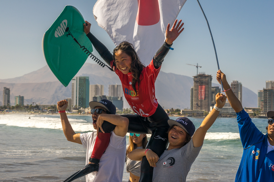Japan's Shiori Okazawa celebrates after being crowned the first ISA World Champion of the day. Photo: ISA/Sean Evans