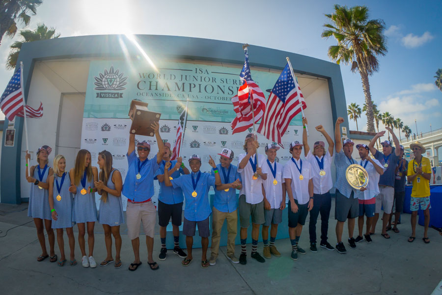 USA won the ISA World Junior Team Champion Trophy for the first time in the history of the competition. Photo: ISA/Sean Evans