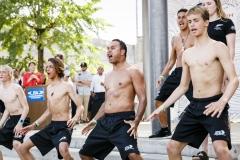 Team New Zealand performing the Haka. PHOTO: ISA / Ben Reed