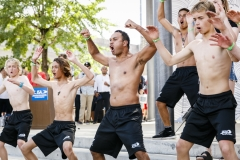 Team New Zealand performing the Haka. PHOTO: ISA / Ben Reed