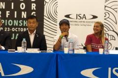 NSA Vice President Sakai Atsushi, JAP Yuji Nishi, CRC - Leilani Mcgonagle. PHOTO: ISA / Evans