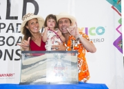 ISA President Fernando Aguerre & Family with the Sands of the Worlds. Photo: ISA / Brian Bielmann