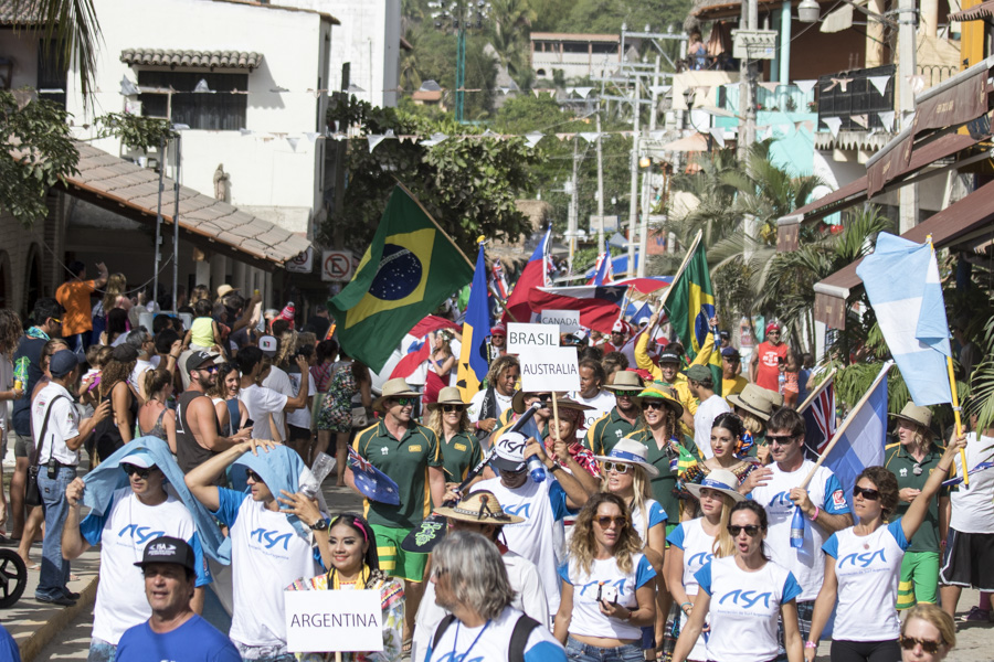 The 27 National Delegations parading through the heart of the colorfully rich, coastal village of Sayulita in front of thousands of local spectators during the Parade of Nations. Photo: ISA/Ben Reed