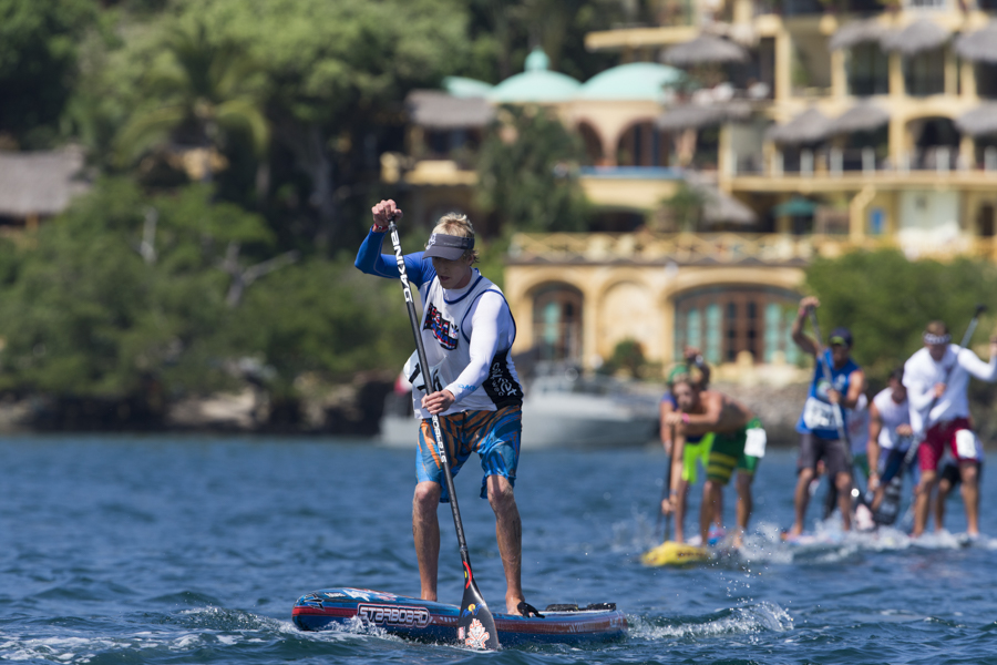 All-star SUP paddleboarder, Connor Baxter racing for Team Hawaii in the Men's SUP Technical Race, where he finished second to qualify for the Final. Photo: ISA/Brian Bielmann