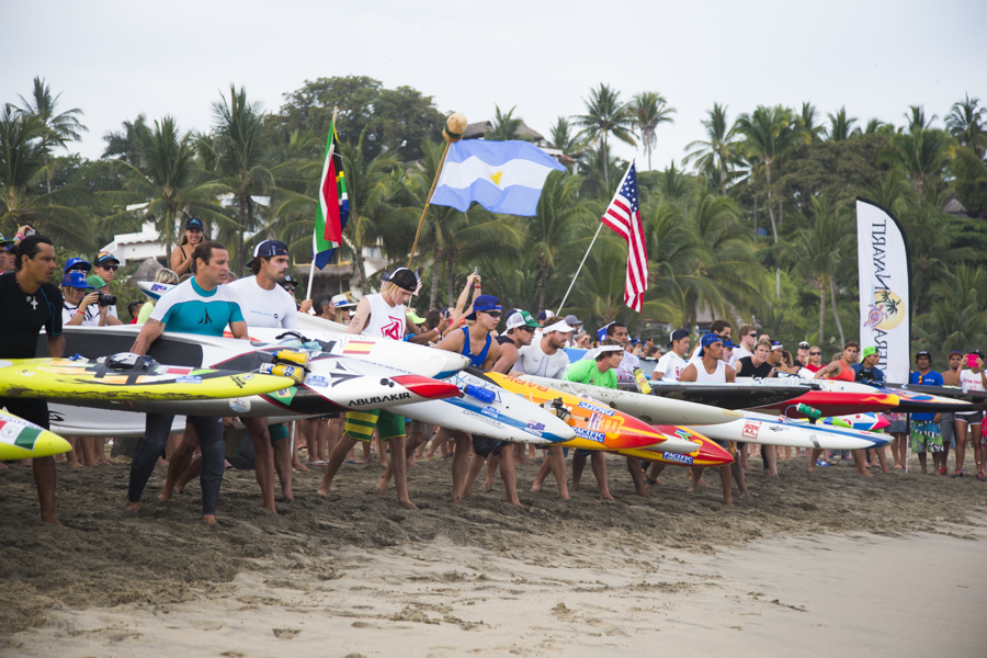 The Paddleboard racers line up, waiting to take on the 20 kilometer course. Photo: ISA/Brian Bielmann