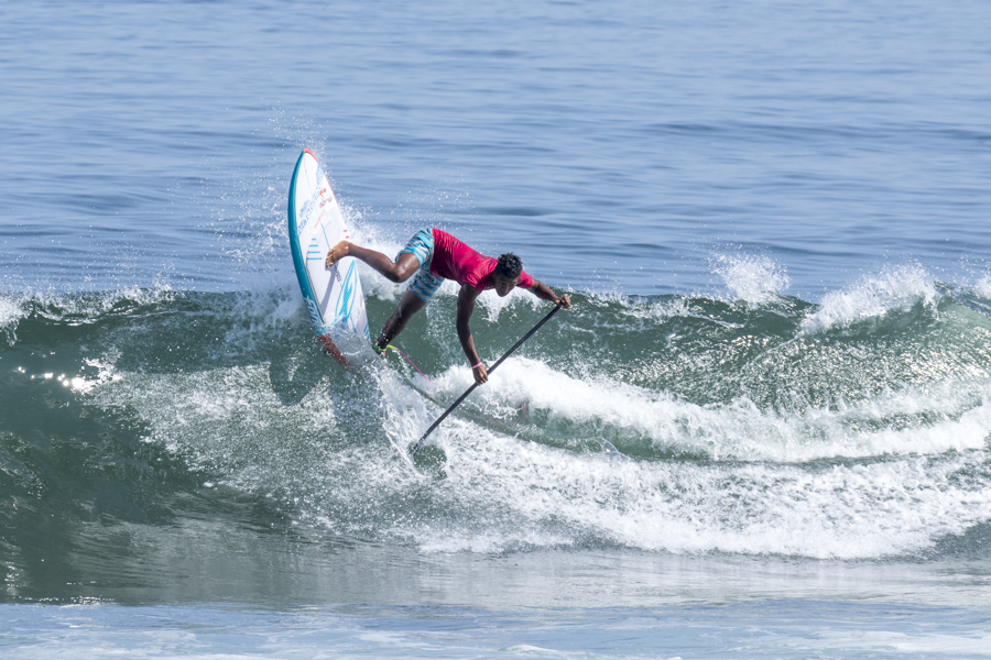 Mauiki Raioha surfed with power for Team Tahiti, however following two Repechage Rounds fell just short of advancing. Photo: ISA/Ben Reed