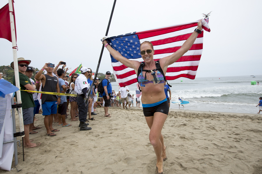 Team U.S.A.'s Candice Appleby captured her first ISA Gold Medal. Appleby also earned valuable points for the overall team ranking with the win in the Women's StandUp Paddle (SUP) Long Distance Race. Photo: ISA/Reed