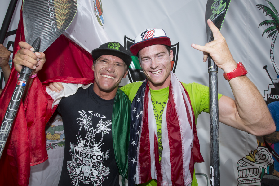 After being carried up the beach on the shoulders of their teammates, Mexico's Felipe Hernandez (right) and USA's Sean Poynter gave thanks to everyone in attendance and especially the host country. Viva la Mexico! Photo: ISA/Ben Reed