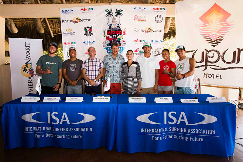 In attendance at the official press conference of the 2015 ISA World StandUp Paddle and Paddleboard Championship were local dignitaries, organizers, media outlets and National Team members. Photo: Brian Bielmann