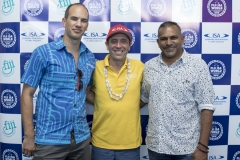 Tourism Fiji CEO Matthew Stoeckel, ISA President Fernando Aguerre and Honorable Faiyaz Koya Minister for Industry Trade and Tourism . PHOTO: ISA / Ben Reed