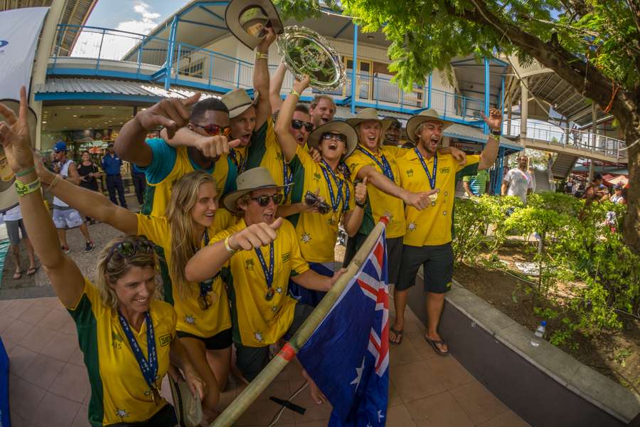 Team Australia celebrates winning their fourth Team Gold Medal in the fifth edition of the ISA World SUP and Paddleboard Championship. Photo: ISA / Sean Evans