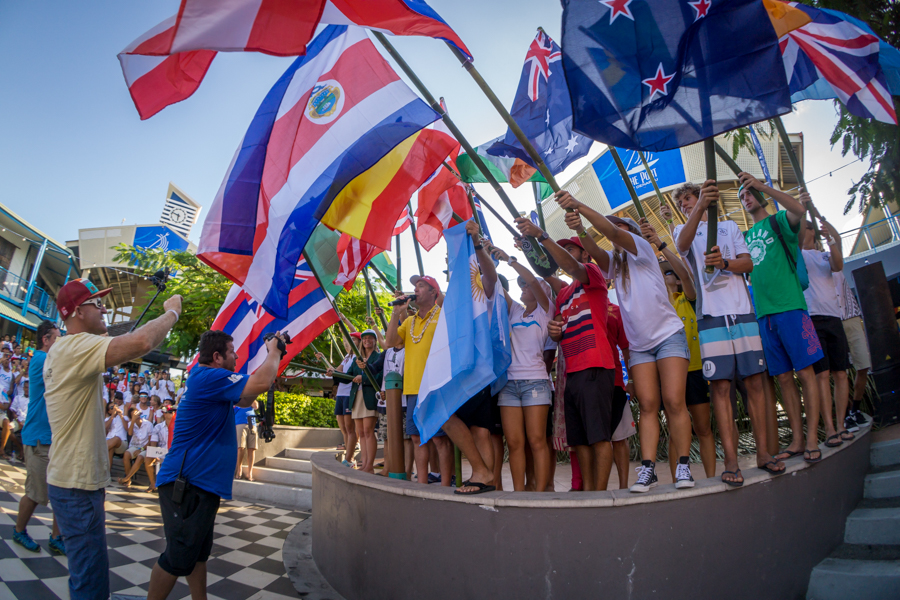 ISA President Fernando Aguerre officially declares open the 2016 Fiji ISA World SUP and Paddleboard Championship along with a representive from each of the 26 participating nations. Photo: ISA / Sean Evans