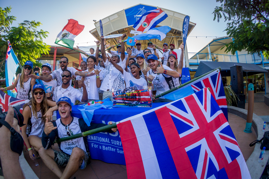 Competitors from visiting nations unite with the local Fijians and celebrate the inauguration of the competition. Photo: ISA / Sean Evans