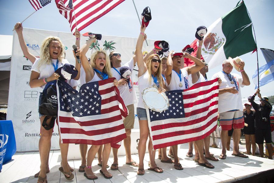 Team USA celebrates winning their first Gold Medal in the history of the event at the 2015 ISA World SUP and Paddleboard Championship. Photo: ISA / Brian Bielmann