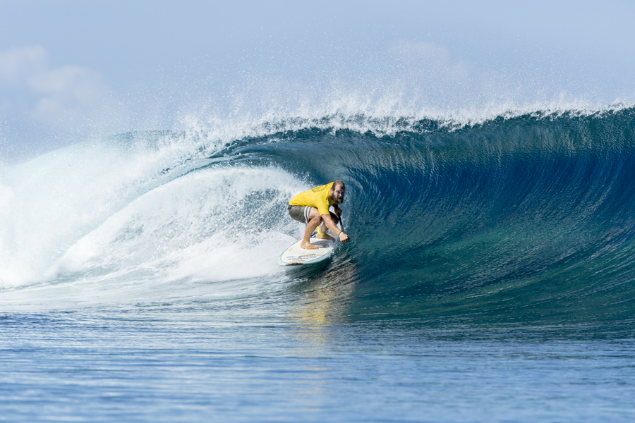 Sweden's Patrick Boyum pulls into a crystal clear barrel at Cloudbreak. Photo: ISA / Ben Reed