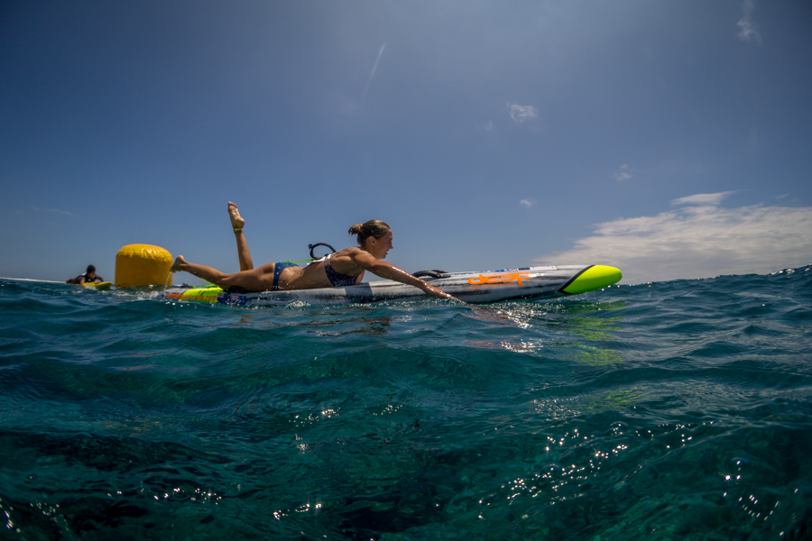 Australia's Harriet Brown earned the first Gold Medal of the event with a dominant performance in the Women's Paddleboard Technical Race. Photo: ISA / Sean Evans