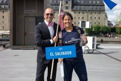 ISA President Fernando Aguerre w Josselyn Alabi (SLV)- Team Opening Ceremony. PHOTO: ISA / Evans