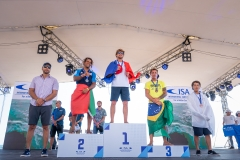 Men's SUP Surfing Finalists: Gold – Benoit Carpentier (FRA) Silver – Airton Cozzolino (ITA) Bronze – Alex Salazar (BRA) Copper – Riki Horikoshi (JPN). PHOTO: ISA / Sean Evans