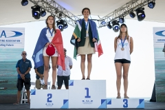 Women's Paddleboard Long Distance Race Podium. PHOTO: ISA / Ben Reed