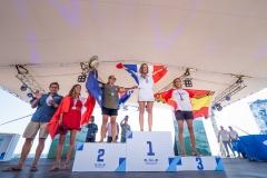 Women's SUP Surfing Finalists: Gold – Justine Dupont (FRA) Silver – Shakira Westdorp (AUS) Bronze – Iballa Ruano Moreno (ESP) Copper – Vania Torres (PER). PHOTO: ISA / Sean Evans