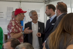 Haakon, Crown Prince of Norway, Jean-Luc Arassus, President of the French Surfing Federation and ISA President Fernando Aguerre. PHOTO: ISA / Ben Reed