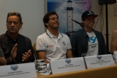 Tom Curren , Honorary Patron of 2017 ISA World Surfing Games, Jeremy Flores (FRA), Lele Usuna (ARG). PHOTO: ISA / Evans